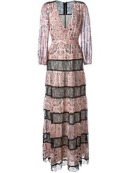 Alice Olivia Alice Olivia Paisley Print Lace Panels Flared Long Dress Pink And Purple