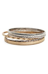 Treasure And Bond Women's Set Of 5 Geo Etched Bangles
