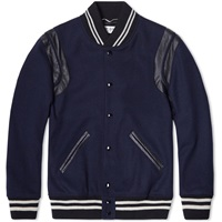 Saint Laurent Leather Trim Wool Teddy Bomber Jacket Navy