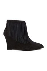 Elysewalker Los Angeles Suede Fringe Booties In Black