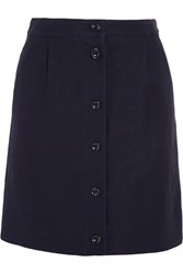 A.P.C. Atelier De Production Et De Creation Monica Linen And Cotton Blend Mini Skirt Midnight Blue