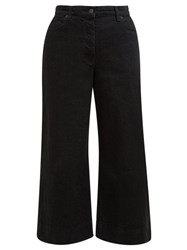 The Row Edna Wide Leg Cropped Denim Trousers Black