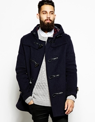 Gloverall Duffle Coat With Check Hood Navy