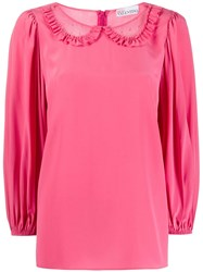 Red Valentino Redvalentino Tulle Panels Peter Pan Blouse 60