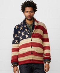 Denim And Supply Ralph Lauren Flag Shawl Collar Cardigan Red Cream Blue