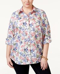 Charter Club Plus Size Button Front Floral Print Shirt Only At Macy's Crushed Peony Combo