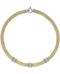 Macy's Diamond Mesh X Collar Necklace 3 8 Ct. T.W. In 14K Gold Plated Sterling Silver No Color