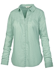 Fat Face Pretty Broderie Cotton Shirt Frost Green