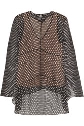Narciso Rodriguez Polka Dot Silk Chiffon Blouse Black