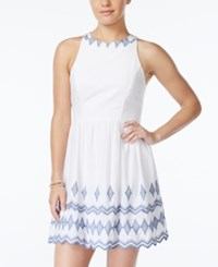 City Triangles City Studios Juniors' Embroidered Scallop Hem Dress White Blue