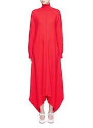 Stella Mccartney Virgin Wool Turtleneck Maxi Sweater Dress Red