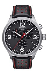 Tissot T Sport Chronograph Leather Strap Watch 45Mm Black Red Silver