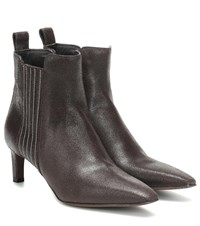Brunello Cucinelli Embellished Leather Ankle Boots Brown