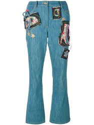 John Galliano Vintage Framed Leg Jeans With Patches Cotton Blue