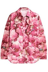Marco De Vincenzo Ruffled Printed Satin And Jacquard Shirt Pink