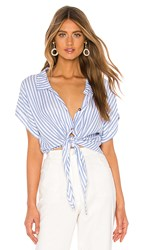 Show Me Your Mumu Mike Top In Blue. Anchor Stripe