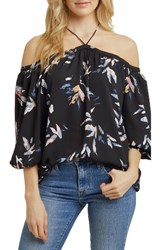 1.State Women's Off The Shoulder Chiffon Blouse Painterly Leaves