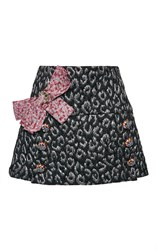 Dolce And Gabbana Metallic Leopard Jacquard Mini Skirt Black Silver Pink