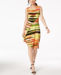 Ellen Tracy Petite Printed Asymmetrical Dress Orange Multi