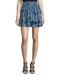 Derek Lam 10 Crosby Tiered Silk Paisley Mini Skirt Blue Women's Size 12 Paisley Multi