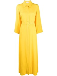 Sara Battaglia Oversized Shirt Maxi Dress Yellow