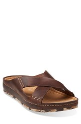 Men's Clarks 'Netrix Cross' Leather Slide Sandal