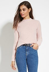 Forever 21 Brushed Knit Sweater Light Pink