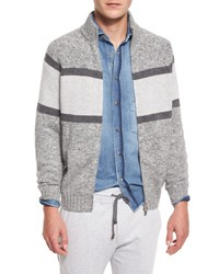 Brunello Cucinelli Colorblock Donegal Front Zip Cardigan Gray