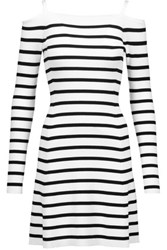 Theory Pirellia Cold Shoulder Striped Ribbed Knit Mini Dress White
