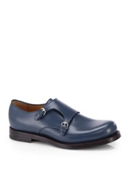 Gucci Double Monk Strap Leather Dress Shoes Blue Petrol
