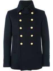 Balmain Cropped Double Breasted Overcoat Blue