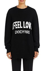 Givenchy Women's I Feel Love Cotton Oversized Sweater Black