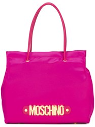 Moschino Logo Letters Tote Pink Purple