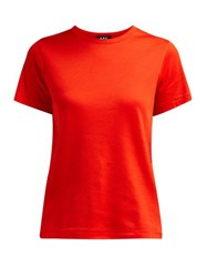 A.P.C. Short Sleeved Cotton T Shirt Red