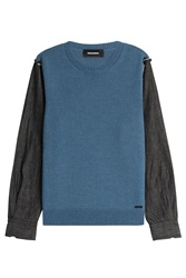 Dsquared2 Knit Pullover With Denim Sleeves Blue