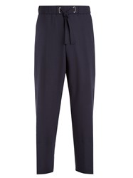 Wooyoungmi Checked Straight Leg Drawstring Waist Trousers Navy