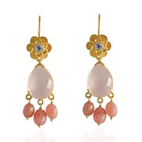 Emma Chapman Jewels Opium Rose Quartz Chandelier Earrings Pink Purple