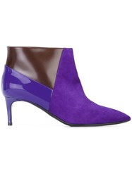 Pollini Panelled Stiletto Boots Pink And Purple