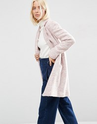 Asos Textured Coat In Relaxed Fit Blush Pink