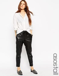 Asos Tall Leather Look Joggers Black