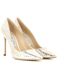 Jimmy Choo Romy 100 Sequin And Satin Pumps White