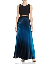 Aqua Illusion Waist Pleated Gown Black Teal