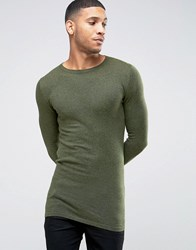Asos Longline Crew Neck Jumper In Muscle Fit Slate Olive Green