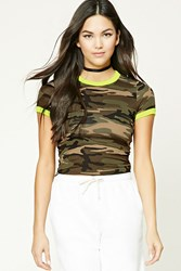Forever 21 Camo Print Ringer Tee Olive Neon Yellow