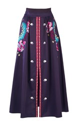 Temperley London Peacock Cotton Skirt Purple