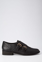 Forever 21 Faux Leather Buckled Oxfords Black
