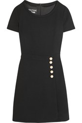 Boutique Moschino Faux Pearl Embellished Wool Crepe Mini Dress Black