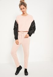 Missguided Nude Side Stitch Detail Cuffed Joggers