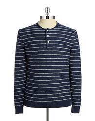 Black Brown Striped Henley Shirt Dark Indigo