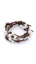 Chan Luu Cultured Freshwater Pearl Wrap Bracelet White Brown